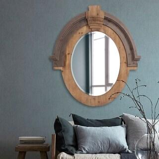 Howard Elliott Collection Allan Andrews Hudson Brown Wood Oval Mirror