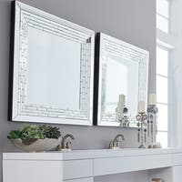 Howard Elliot Collection Allan Andrews Mila Clear Glass and Wood Square Modern Mirror