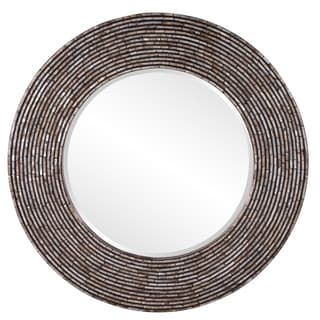 Allan Andrews Orlando Round Wood Mother-Of-Pearl Mirror - Black - A/N