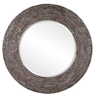 Allan Andrews Orlando Round Wood Mother-Of-Pearl Mirror