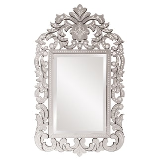 Howard Elliot Collection Allan Andrews Regina Clear Glass and Wood Venetian Mirror - Silver - A/N