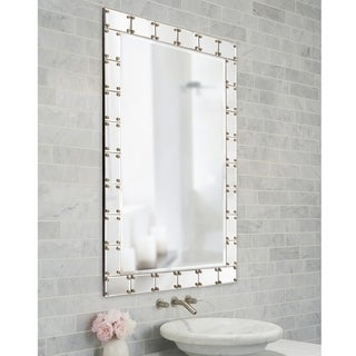 Howard Elliott Collection Allan Andrews Remington Glass/Wood Studded Wall Mirror