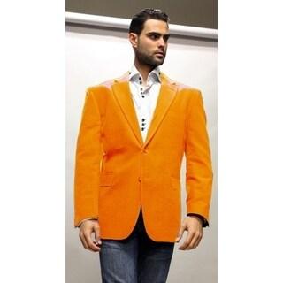 2-Button Style & Double Vents on Back - Men's In Orange Velvet Blazer