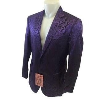 Paisley Pattern 2-Button Blazer In Purple with Notch Lapel