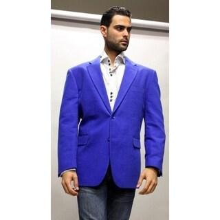 2-Button Style, Double Vents on Back, Men's BY Royal Blue Velvet Blazer