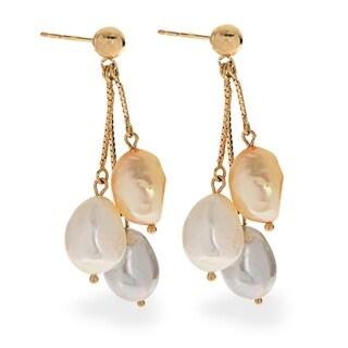 PearLustre by Imperial 14KY Triple Freshwater Pearl Dangle Earrings