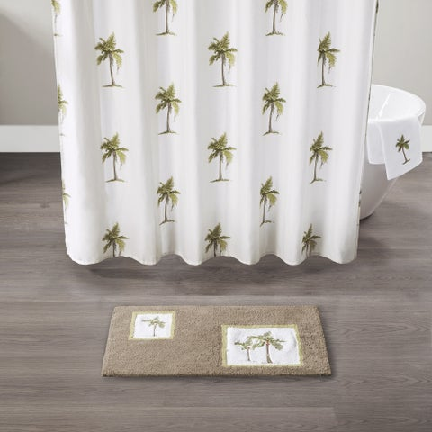 Madison Park Areca Taupe Cotton Tufted Rug with Embroidery