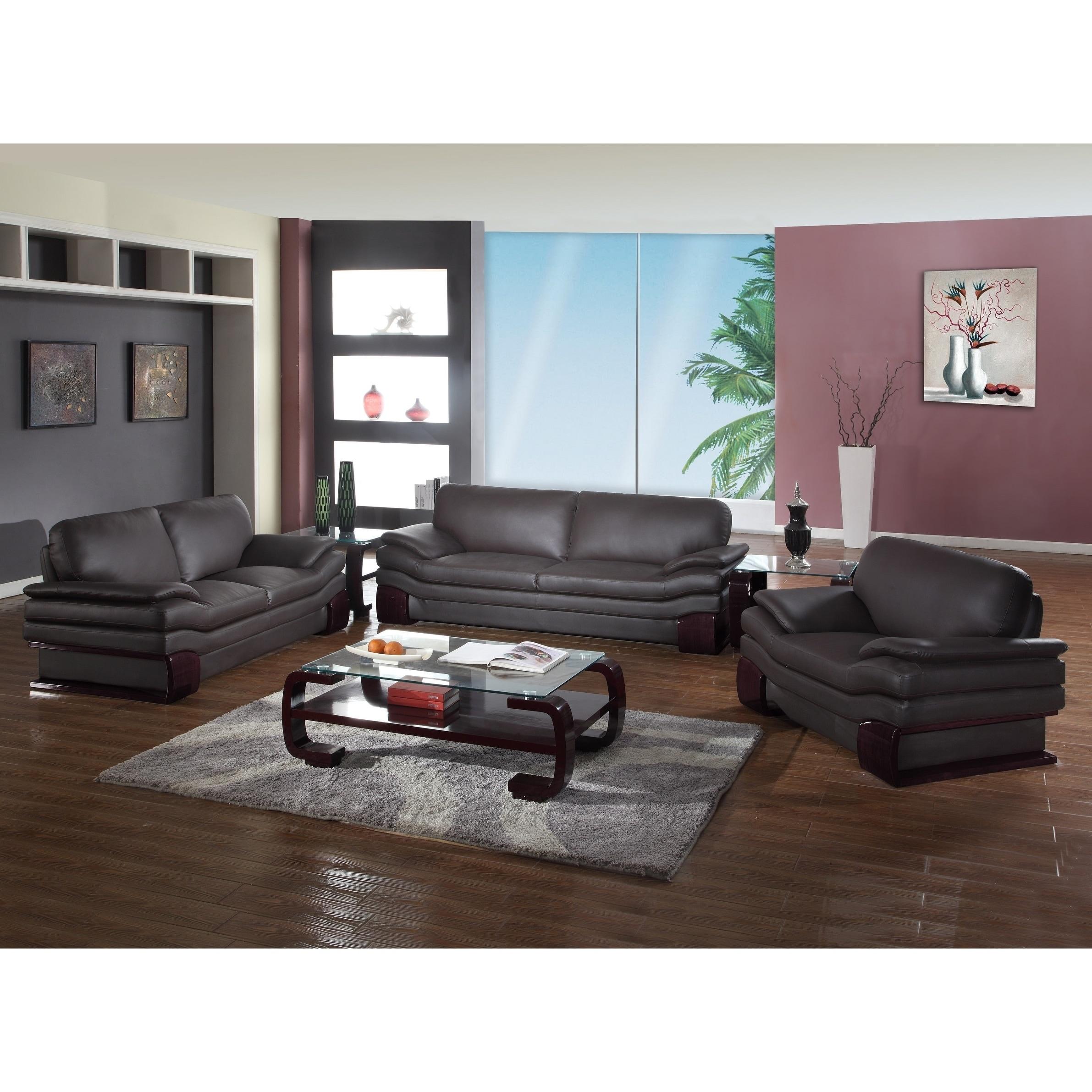 GU Furniture Leather/Match Upholstered 3-Piece Living Room Sofa Set