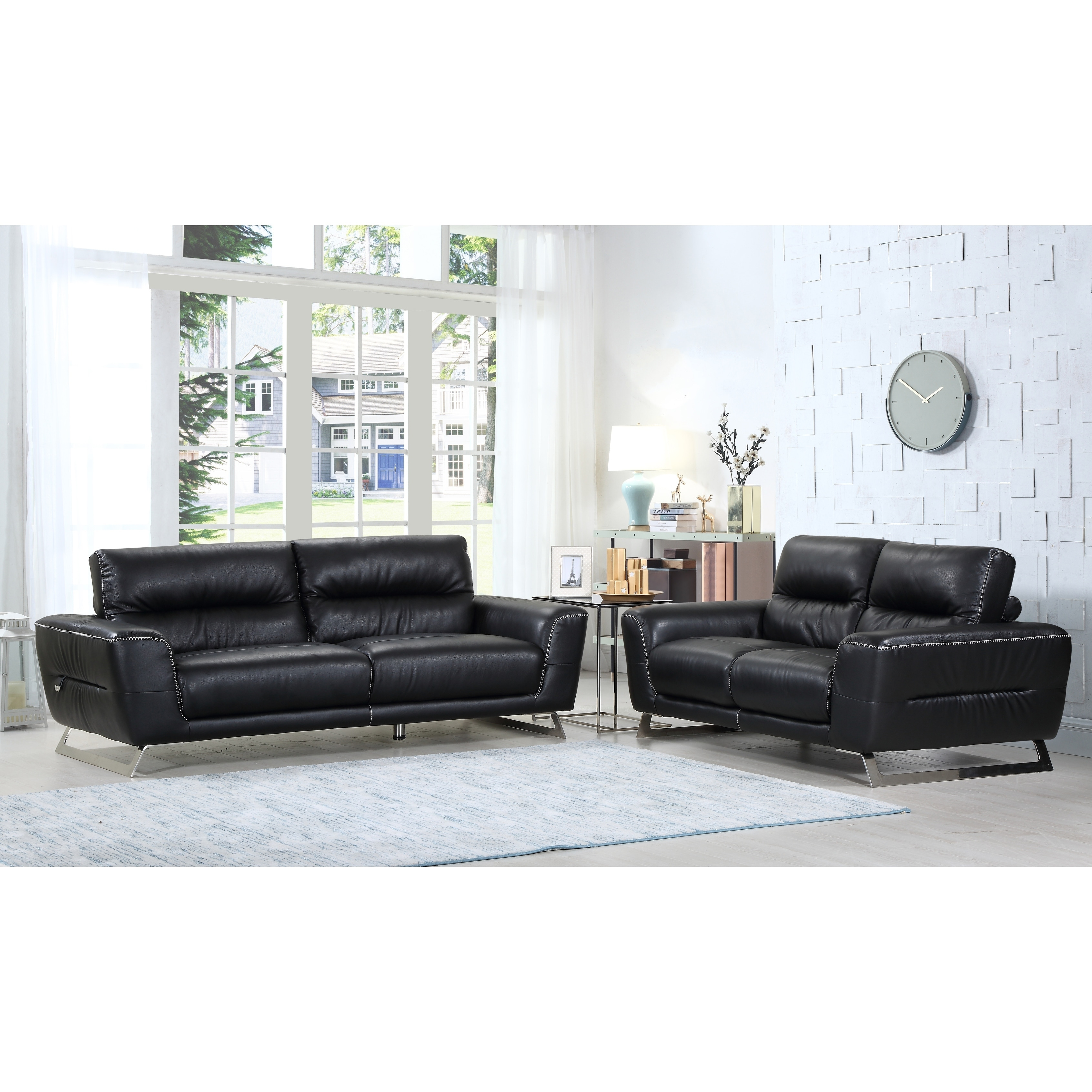 Sensational Divanitalia Torino Luxury Italian Leather Upholstered 2 Piece Living Room Sofa Set Home Interior And Landscaping Thycampuscom