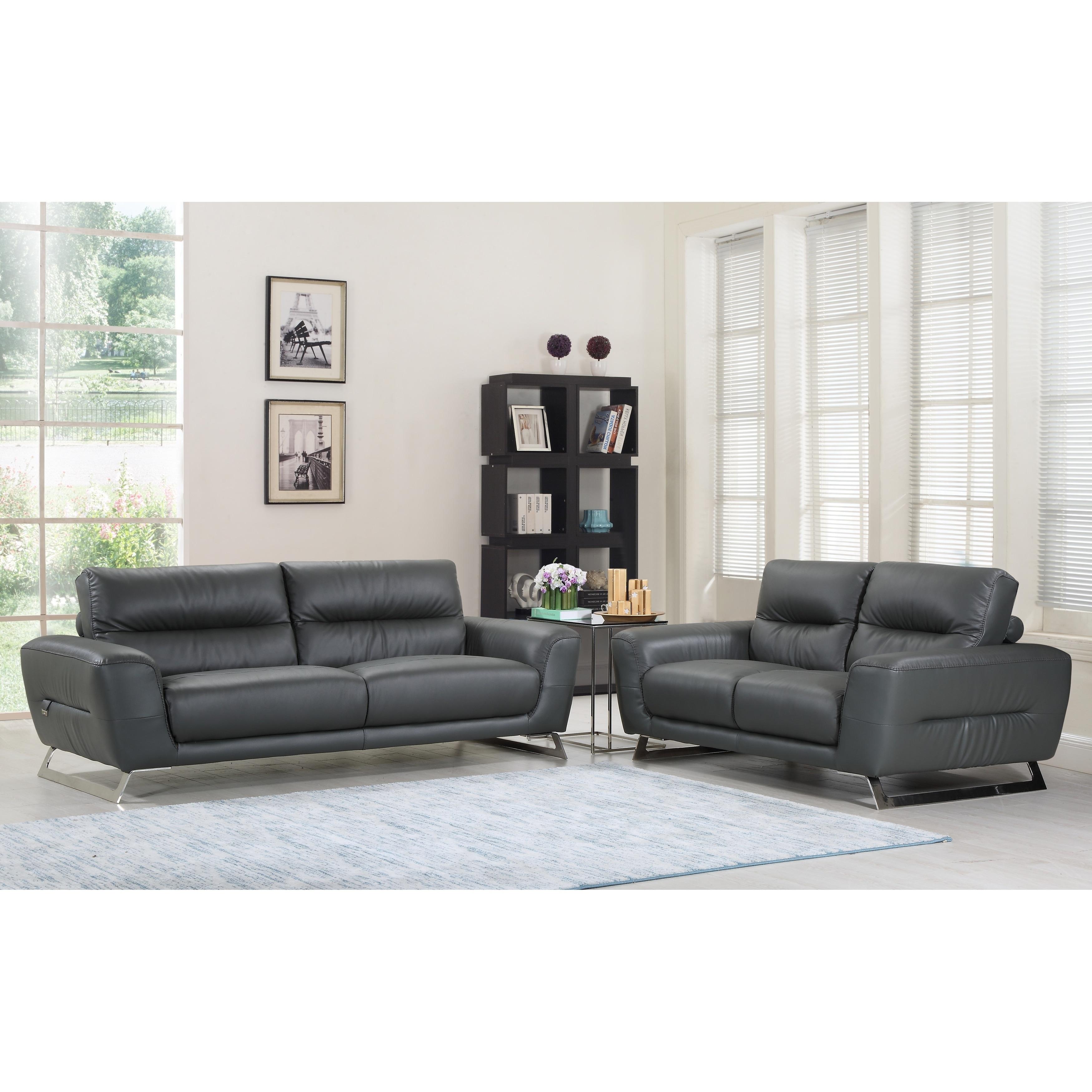DivanItalia Torino Luxury Italian Leather Upholstered 2-Piece Living ...