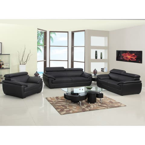 Leather/Match Upholstered 3-Piece Living Room Sofa Set