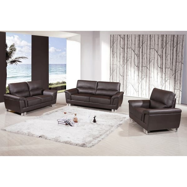 Shop Watson Leather Gel/Match Upholstered 3-Piece Living ...