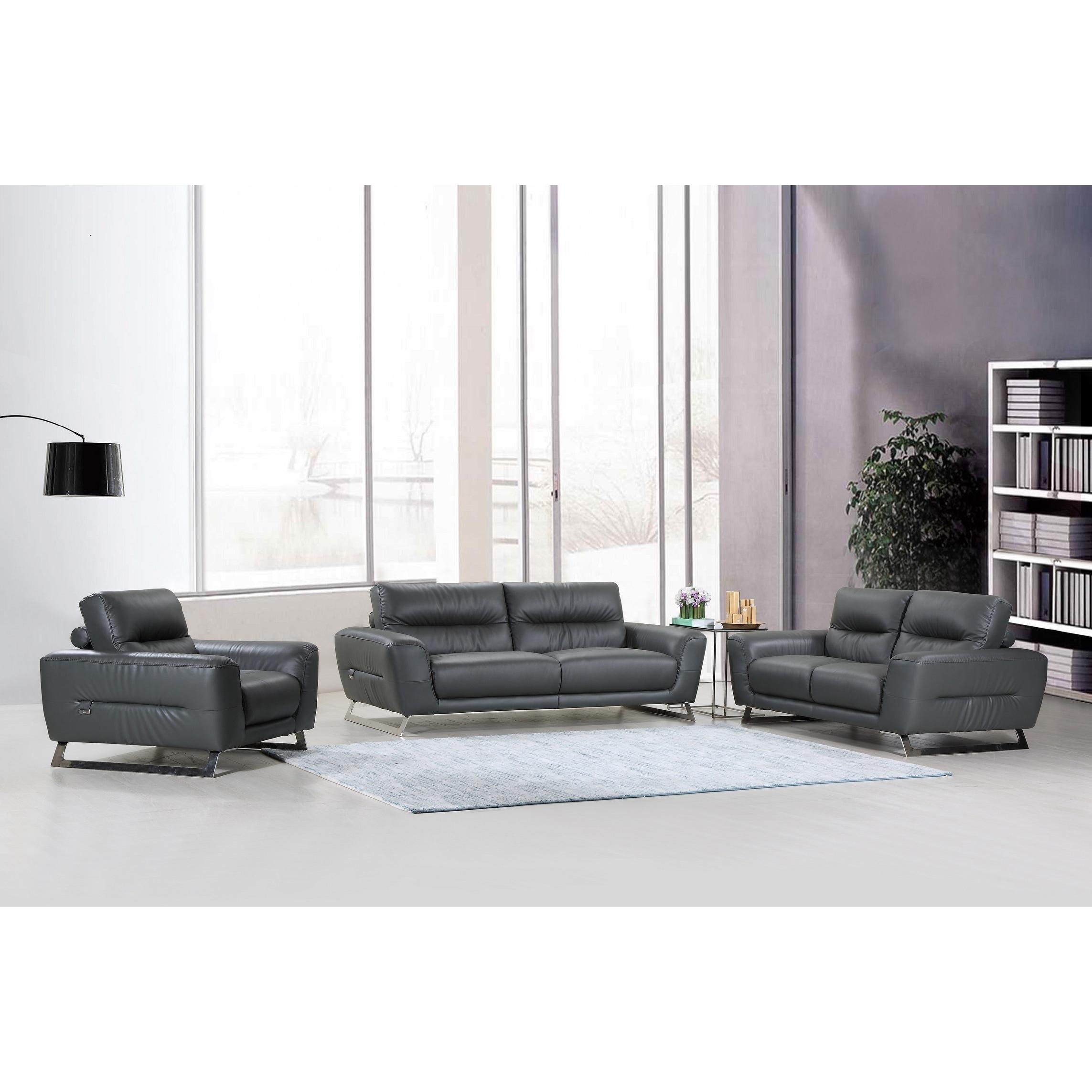 DivanItalia Torino Luxury Italian Leather Upholstered 3-Piece Living ...