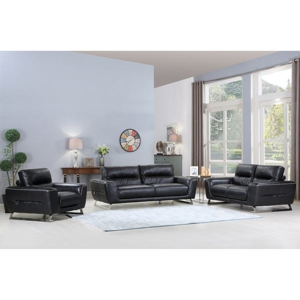 Awesome Divanitalia Torino Luxury Italian Leather Upholstered 3 Piece Living Room Sofa Set Home Interior And Landscaping Thycampuscom