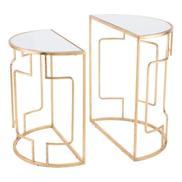 Roma Gold-finished Steel Half-circle Console Accent End Tables With Mirrored Glass Tabletops (Set of 2)
