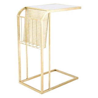 Gold Steel/Glass Magazine Table