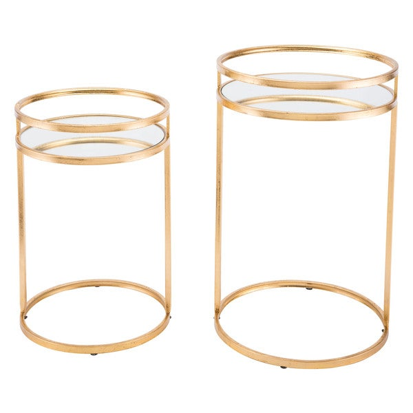 Set Of 2 Nesting Tables Gold