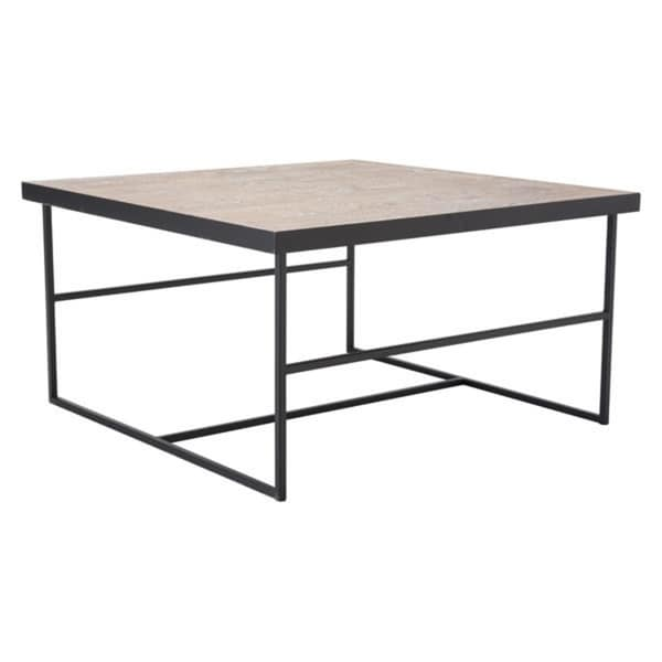 Forest Geometric Black Finish Steel Open-air Base Coffee Table With Light-toned Wood Tabletop