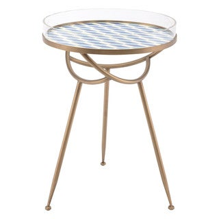 Porch & Den Harris Round Blue and White Lattice Top/ Gold Finish Base Table