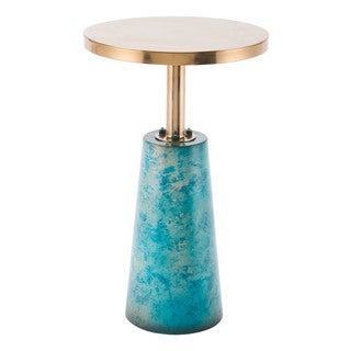 Zaphire Distressed Teal Steel Base End Table with Luxe Gold Round Disc Top