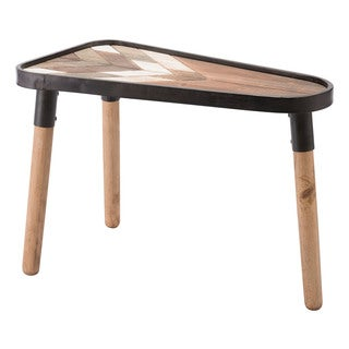Arrow Brown Wood Steel Side Table
