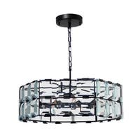 San Francisco Crystal Panel Chandelier Black Finish
