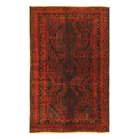 Handmade Herat Oriental Afghan Hand-knotted Tribal Balouchi Wool Area Rug  - 3'8 x 6'1 (Afghanistan)