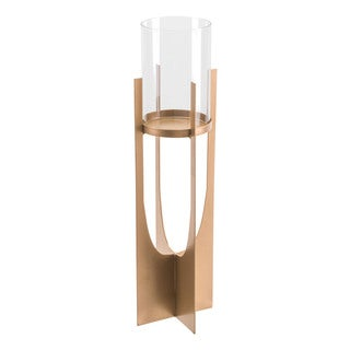 Equis Gold Candle Holder Lg Gold