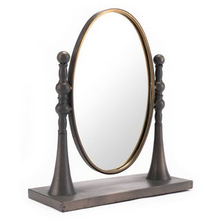 Circle Mirror With Stand Black & Gold