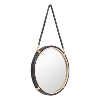 Black Faux Leather, Wood, and Gold-finished Steel Round Wall Mirror With Hanging Strap
