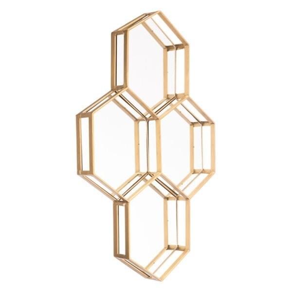 Honeycomb Goldtone Steel Mirror