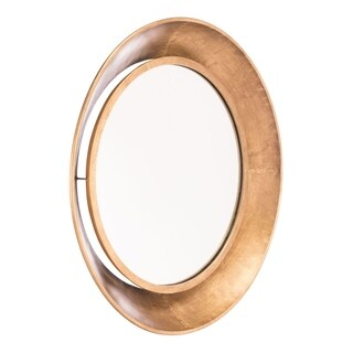 Ovali Goldtone Metal Large Round Wall Mirror