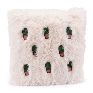 Porch & Den Beige and Pink Cactus Throw Pillow