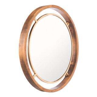 Goldtone Steel, Pinewood, and Glass Medium Round Wall Mirror