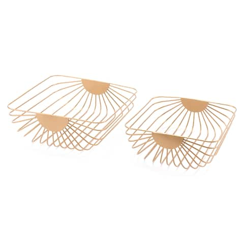Silver Orchid Lynn Gold Wired Tray (Set of 2)