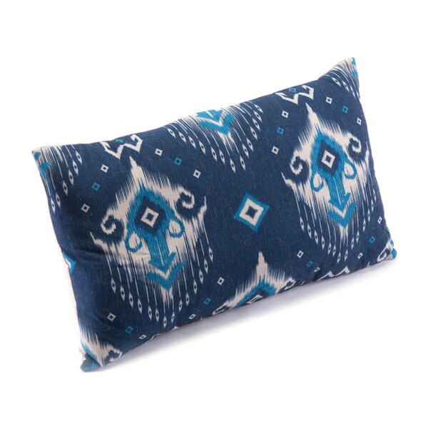 Porch & Den Walta Blue and Natural Ikat Pattern Pillow