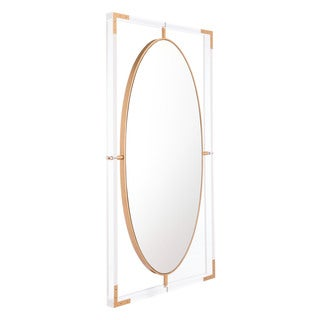Clear Lucite, Steel, and Glass Rectangular Wall Mirror