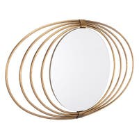 Eye Brushed Gold Finish Steel Wire and Glass Elliptical Oval Accent Wall Mirror