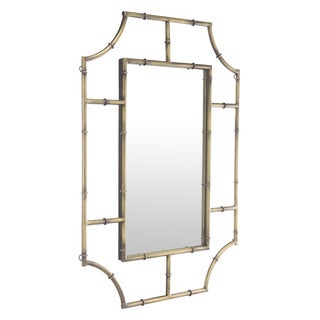 Bamboo-style Rounded Corners Antique Gold Wall Mirror