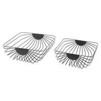 Set Of 2 Wired Trays Black Black