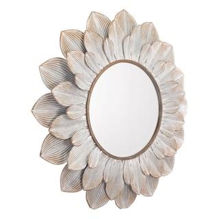 Flora Distressed Brown Round Wall Mount Mirror