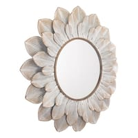 Flora Distressed Brown Round Wall Mount Mirror