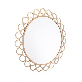 Rani Gold-tone Steel Medium Round Mirror
