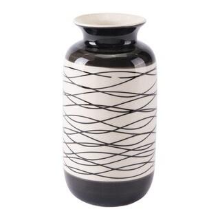 Stripes Short Vase Black & Ivory