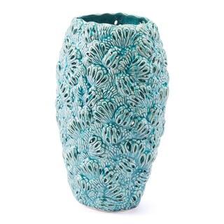Porch & Den Small Teal Textured Petals Vase