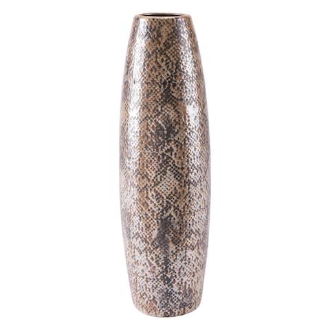 Porch & Den Tall Brown Snake Skin Vase