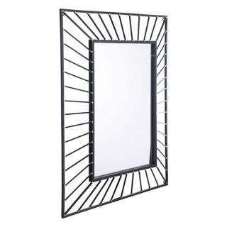 Black Steel Sunburst Rectangular Mirror