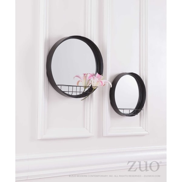 Shop Round Mirror Shelf Lg Antique Black Free Shipping Today