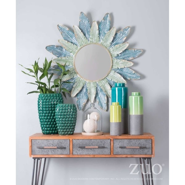 Tropic Green-finished Steel, Wood, and Glass Round Wall Mirror