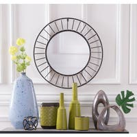 Black Steel-framed Round Sunburst Wall Mirror